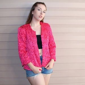 Sweaters - 1980s Pink Sequin Cardigan